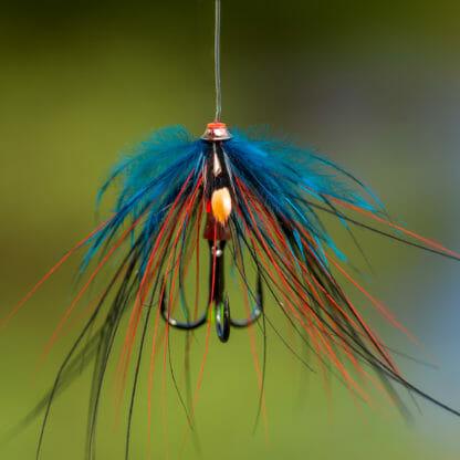 Laxfluga i mönster thunder and lightning spey bunden på tub