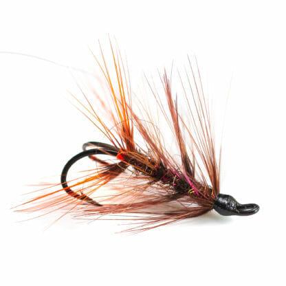 två krokflugor för lax eller havsöring i mönster ullsock i brun färg
