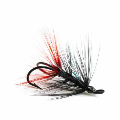 två laxflugor/havsöringsflugor på krok i mönster ullsock i svart färg
