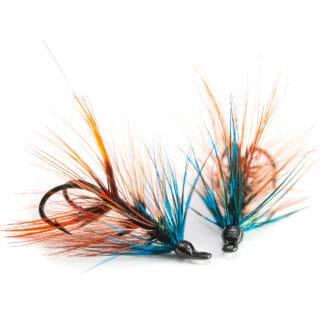 två krokflugor för lax eller havsöring i mönster ullsock i färg thunder and lightning