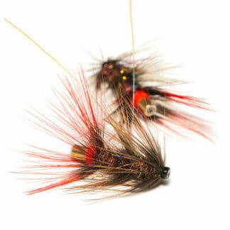 två laxflugor/havsöringsflugor på tub i mönster ullsock i brun färg
