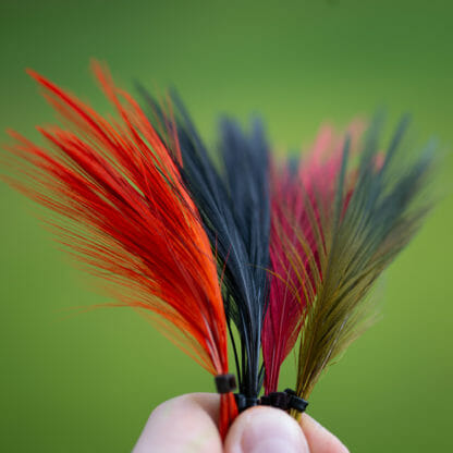 En bunte med hägerfjädrar i olika färger till flugbindning