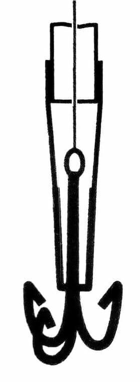En skiss på hur en tubfluga skall användas